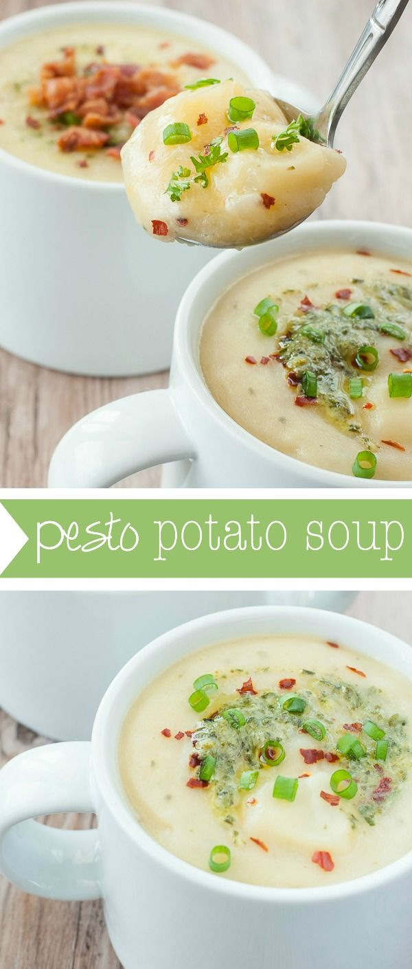 Pesto Potato Soup :: No cream is needed for this lusciously creamy potato soup swirled with pesto for extra oomph! Light and gluten-free, you're free to splurge a little on your choice of toppings! :: I love this soup!