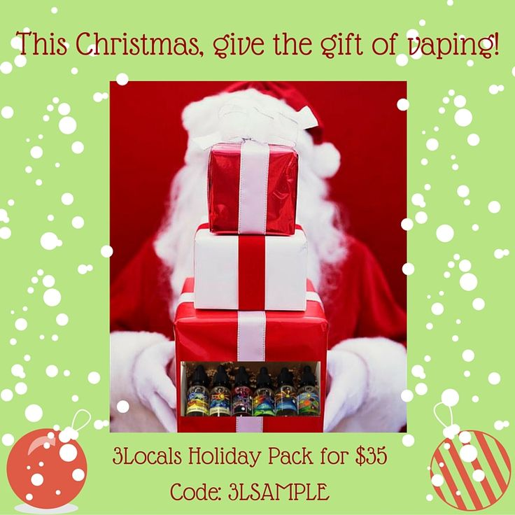 This Christmas, give the gift of vaping.  Our 3Locals Holiday Pack is discounted to just $35. You get ALL 6 flavors of 3Locals premium eliquid in 15ml!  Use the code: 3LSAMPLE  http://joco-juice-online.mybigcommerce.com/3-locals/  #AvailableOnline #ELiquidDeals #VapeDeals #3Locals #JoCoJuice #LOCO4JoCo #CarolinaVapers #VapeLyfe #GiveTheGiftOfVaping #CloudChaser #VapingSavesLives #VapingChristmasDeals #DripClub #VapeFam #VapeNation #ImProof