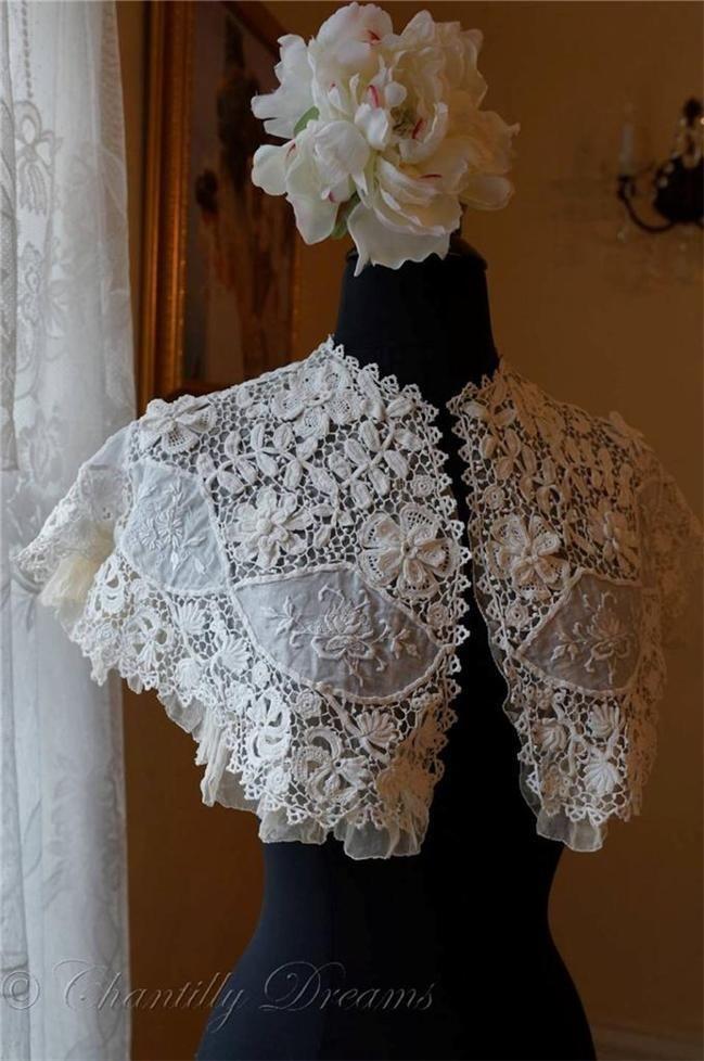 Antique Victorian Irish Crochet Lace & Ayshire Bridal Capelet Bertha Silk Lining