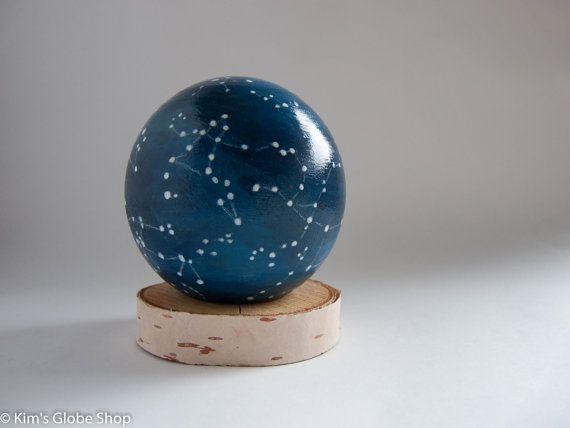 Hand-painted Wooden Constellation Globe // KimsGlobeShop