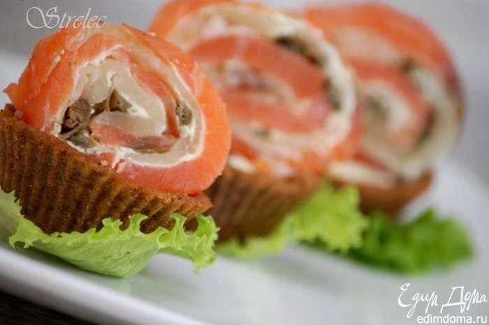 Хлебные корзинки с рыбным рулетом Отличный рецепт вкусной закуски! Приятного вам аппетита! #едимдома #готовимдома #рецепты #кулинария #закуски #домашняяеда