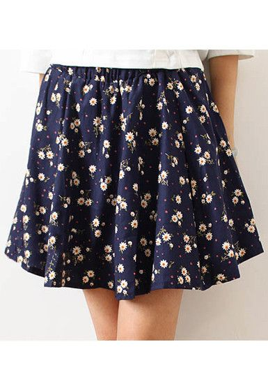 Pleated Skater Skirt - Floral Navy - @LookBookStore