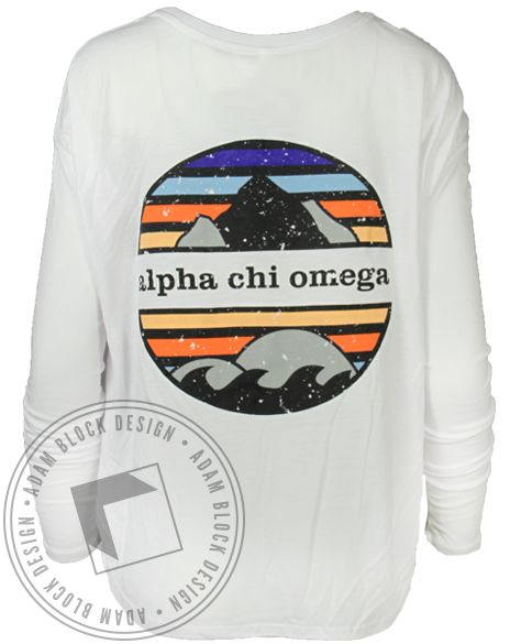 Alpha Chi Omega Mountain Long Sleeve by Adam Block Design | Custom Greek Apparel & Sorority Clothes | www.adamblockdesign.com