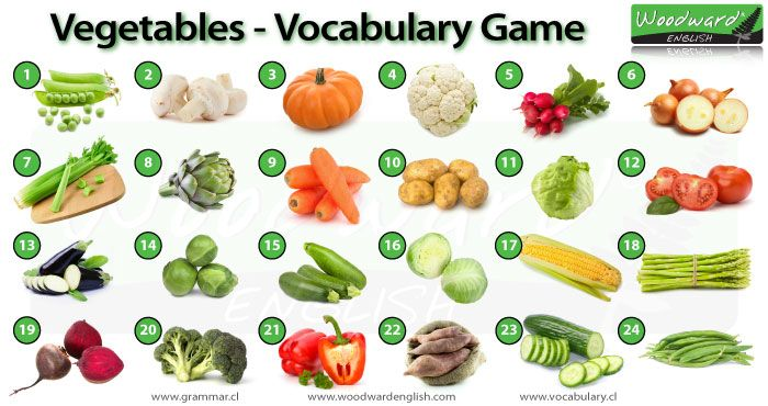 Vegetables in English - Vocabulary Game - Can you name each vegetable in the picture?