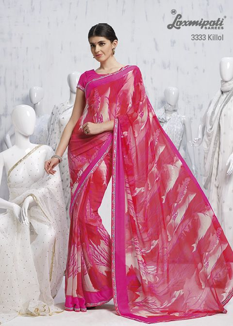 Pretty Georgette texture with hot pink color will up to the mark for all the pink lovers.