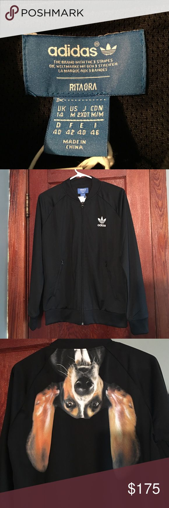 Rita Ora for ADIDAS Puppy Track Jacket You will not find another, not sold in US stores, this is an official Rita Ora for ADIDAS track jacket in black with hound dog graphic on the back Adidas Jackets & Coats