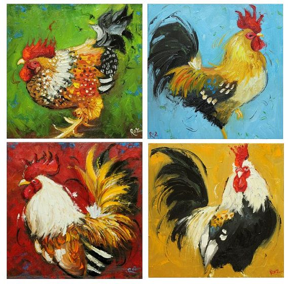 Commission+your+own+four+Rooster+paintings+12x12+inches+by+RozArt