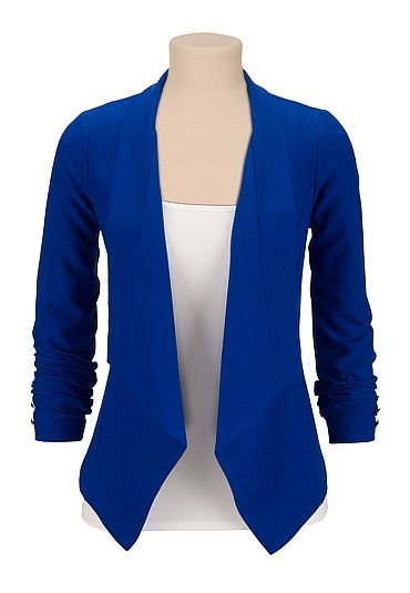 Blue open front blazer (original price, $49) available at #Maurices
