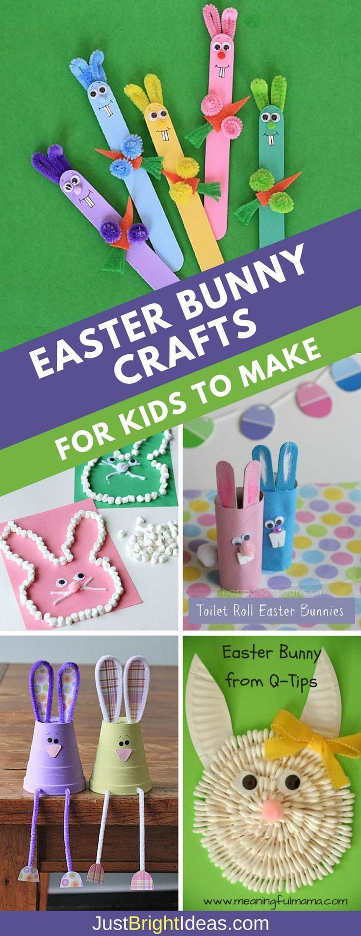 Hop Hop Hop like a Bunny! Don't miss these super cute Easter bunny crafts for kids to make - perfect for a Sunday afternoon of fun! Everything from craft sticks to toilet roll bunnies. You should have all the materials you need at home. #easter #kidcrafts