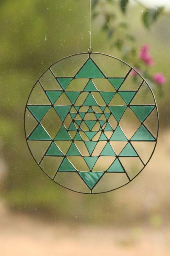 Sacred geometry suncatcher Yri Yantra stained glass by Mownart