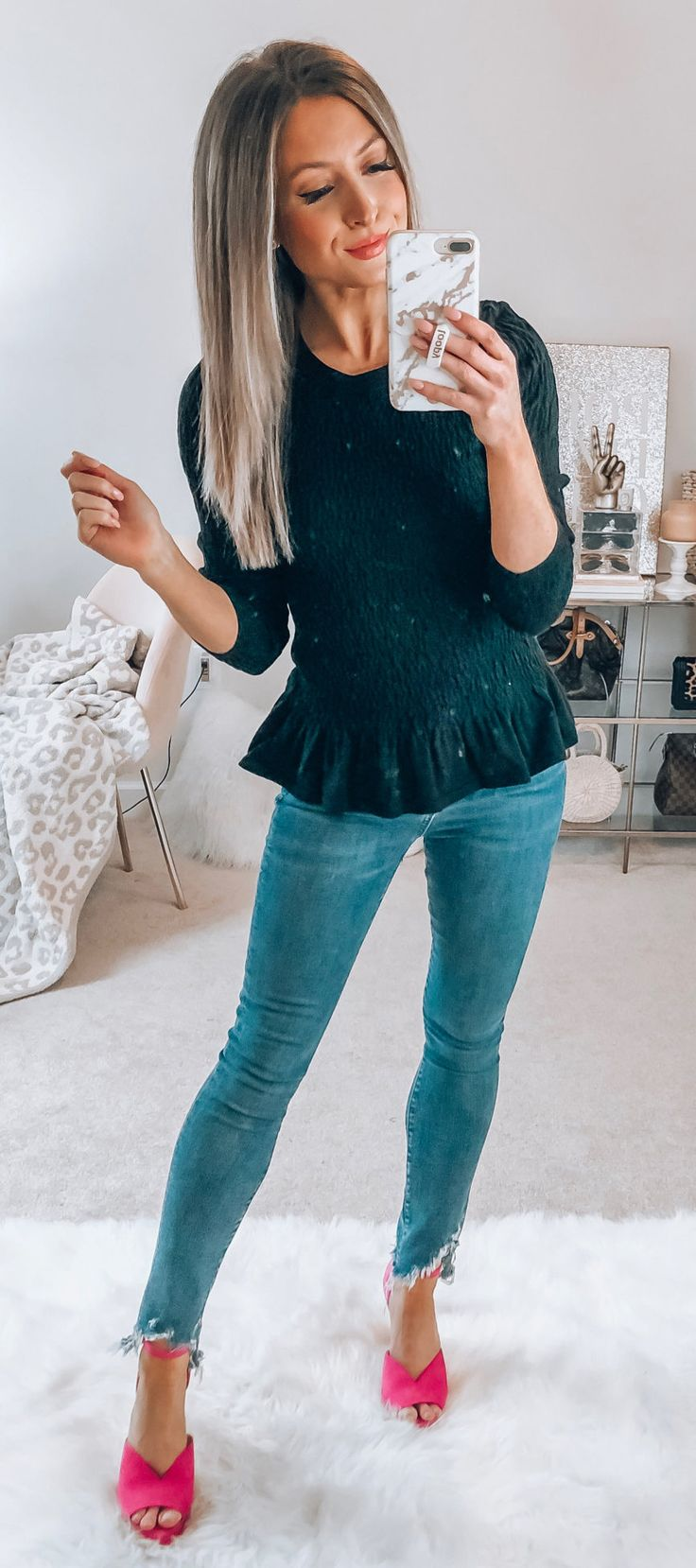 black 3/4-sleeved blouse #spring #outfits