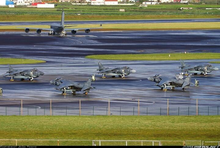 """Marine Attack Squadron 223 (VMA-223) """"Bulldogs"""" resting at apron Golf North at Lajes / Azores (Portugal)."""