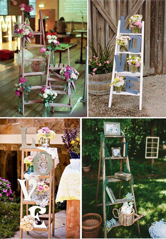 Ideas para decorar bodas con escaleras vintage: Os proponemos ideas originales para utilizar escaleras en la decoración de vuestra boda.
