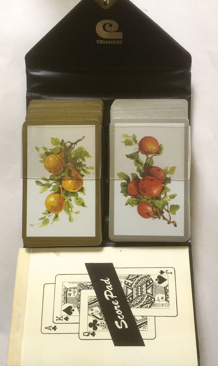 Vintage Playing Cards, Set of 2 decks, Orange and Pear Designs, With Score Pad by ChezShirlianne on Etsy