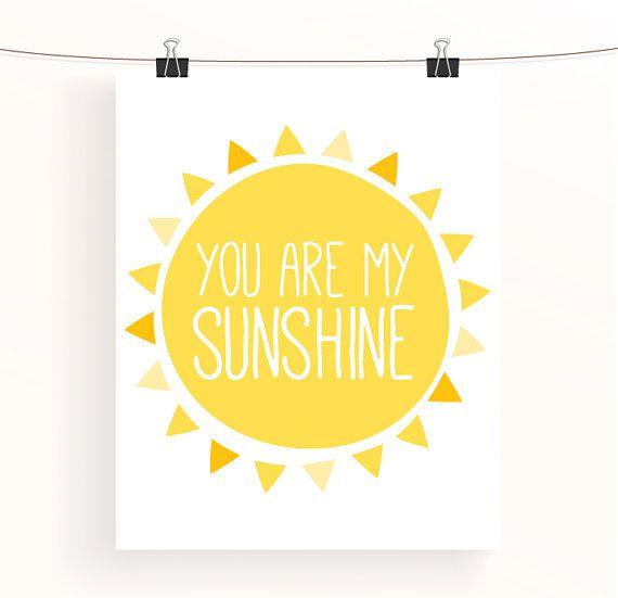 You are my sunshine - yellow nursery print - typography poster - childrens wall art - nursery decor - baby nursery art - sunshine collection on Etsy, $9.94