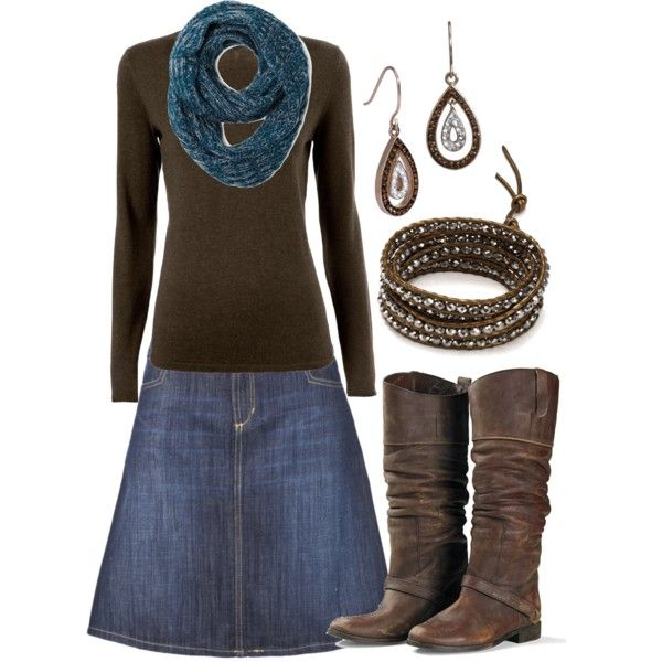 **4/14/14 Denim skirt, brown t-shirt, brown boots, Sherlock scarf, Roxy cardigan