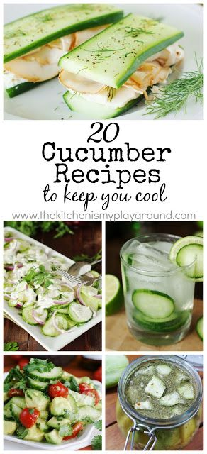 20 Cucumber Recipes to Keep You Cool ~ check out this collection of cool-as-a-cucumber inspiration.   www.thekitchenismyplayground.com