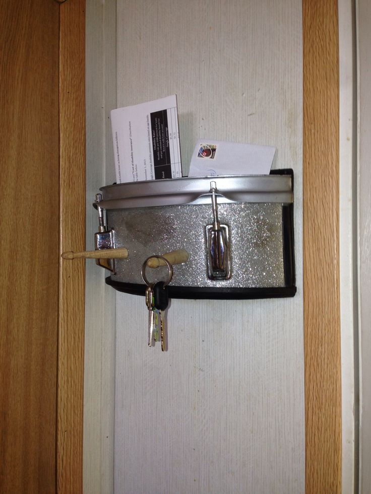 "Up-cycled drum ""key/mail holder"""