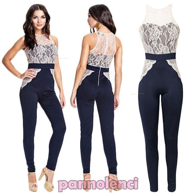 Overall donna tutina jumpsuit pantaloni inserti PIZZO abito party nuovo DL-1644