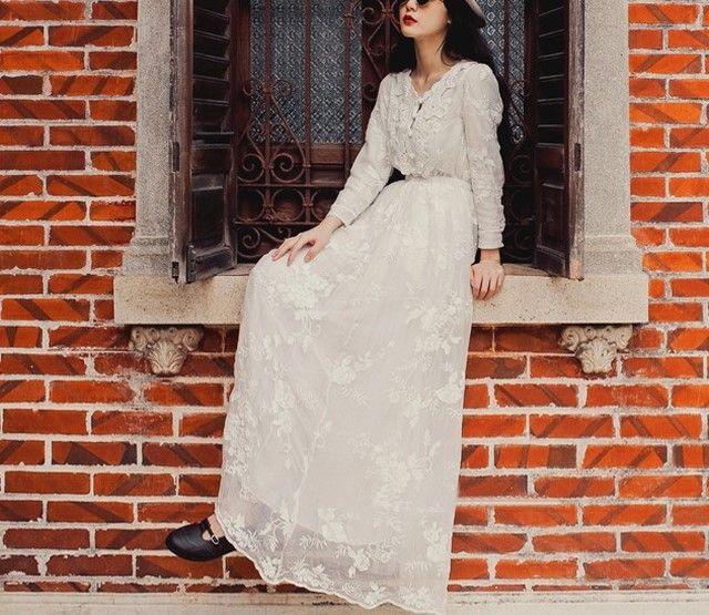 원피스/바닥 전체 소매 공주 봄 비치웨어 휴가 에 흰색 레이스 쉬폰 크로 셰 뜨개질 긴 드레스 캐주얼 귀여운 슬림 튜닉 드레스 White lace Chiffon crochet lo