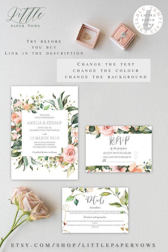 Floral Peach Watercolor Wedding Invite Suite Watercolor Flowers