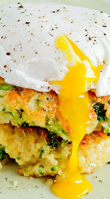 Quinoa Broccoli Cakes with Poached Egg