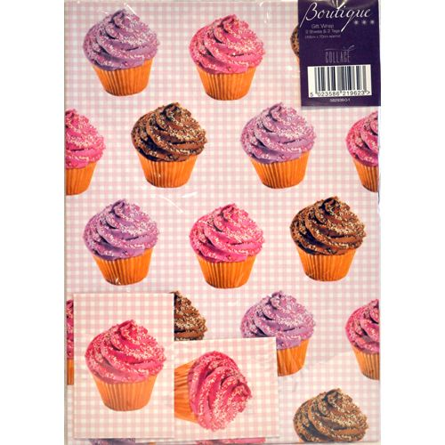 Gingham Cupcake Wrapping Paper and Tags