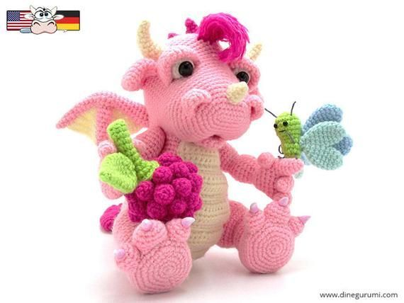 Raspberry Dragon – amigurumi crochet pattern