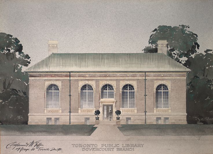 Bloor Gladstone Branch - original architectural rendering - first name of the branch was Dovercourt. 1913 Dovercourt Branch officially opened 23 October. Chapman & McGiffin Architects. First TPL branch wholly financed by the City of Toronto. Renamed Bloor and Gladstone 1938.  Closed for renovation and expansion, 1975.  Architects: Howard V. Walker and Howard D. Chapman (son of the original architect).