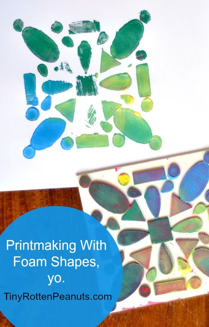 Make some prints with foam shapes - you can even make t-shirts or just mess around with the shapes and skip the printmaking altogether. Anyt...
