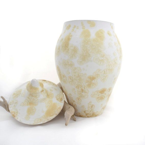 Ceramic crystal glazed Yellow and White Lidded by SunbirdPottery
