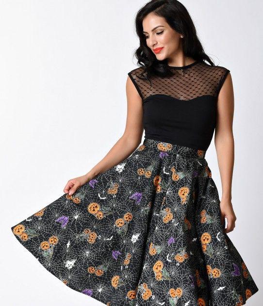 Hell Bunny 1950s Black Halloween Print Harlow High Waist Swing Skirt