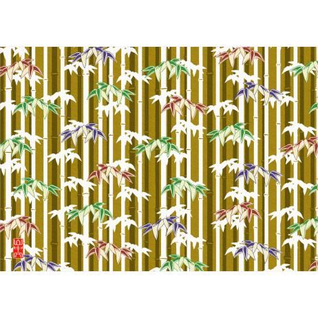 Bamboo pattern (ochre),Chiyogami,Art,Asia / Oceania,Japan,yellow,bamboo