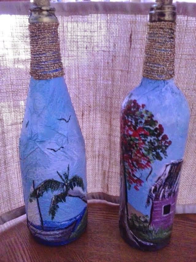 Pintar botellas de cristal o vidrio sobre papel servilleta