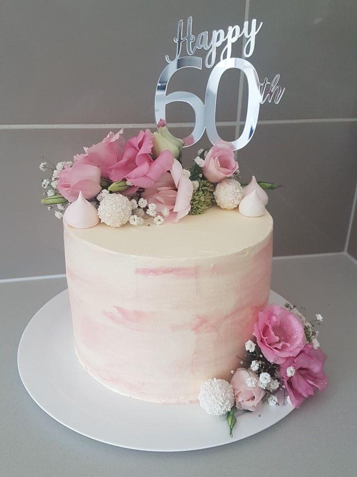 60th Birthday Cake Buttercream Pink Cakes I Ve Made