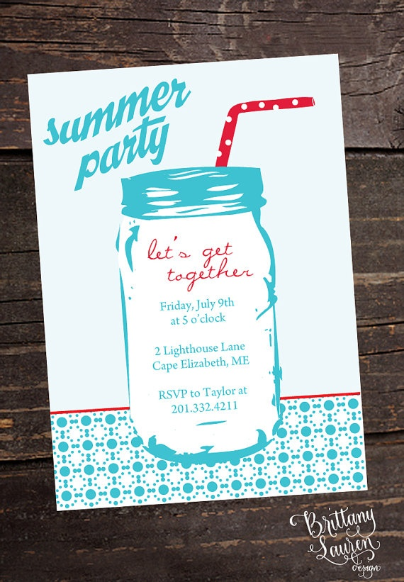 Mason Jar Summer Party Invitations  Set of by brittanylaurendesign, $28.50