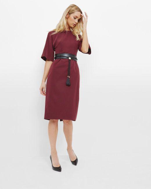 Belted kimono dress - Oxblood   Dresses   Ted Baker
