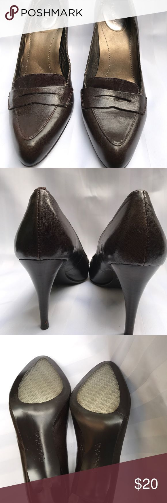 """Calvin Klein """"Cybil"""" Brown Pump Women's 6.5 Calvin Klein penny loafer style high heel pump. 2.5"""" heel height. Pre-owned. Small scratch at bottom of left heel. Minor scratches from normal wear. Calvin Klein Shoes Heels"""