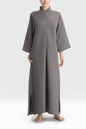 """Natori Deco Zip Caftan Quilted with a geometric deco inspired pattern 52"""" length Zip front Mandarin collar 78% polyester, 22% viscose $180"""
