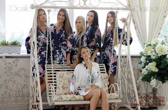 Ship from USA Set of 7 Bridesmaid Satin Robes by GentleSateen