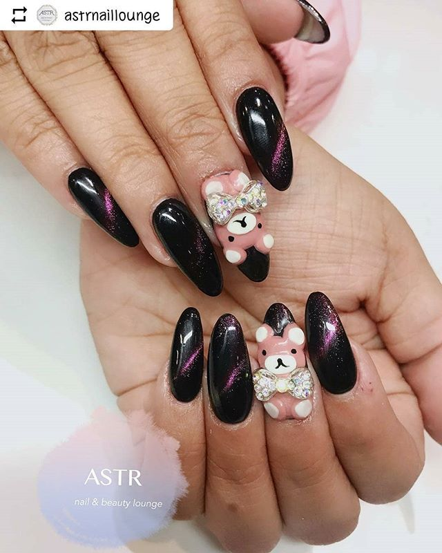 Repost Astrnaillounge With Instatoolsapp Gelx Set With 3d Sculpted Bears 6265810082 For Appointments Astrnaillounge Astr Swag Nails Nails Cat Eye Nails