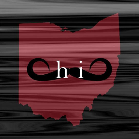 Ohio Mustache Movember - The State of Ohio Hallway and Wall Art on Etsy, $15.00