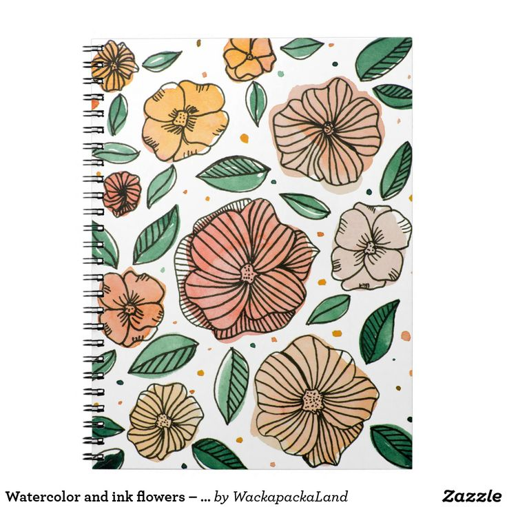 Watercolor and ink flowers – vintage palette #notebook #notes #stationery #watercolor #ink #flowers #floral #foliage #giftforher #doodle #painting #backtoschool #writting #cute #pretty #forher #gifts