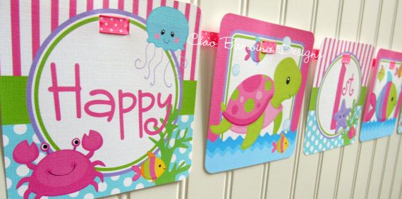 NEW  Under the Sea  Happy Birthday Banner for Girls by ciaobambino, $16.00