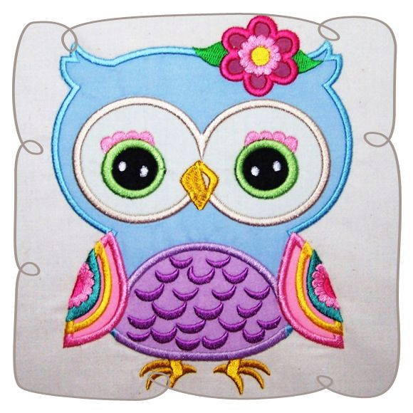 Nancy owl with daisy Applique