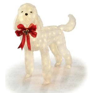 42 in white tinsel lighted dog ty436 1314 at the home depot tablet christmas pinterest for Home depot christmas decorations for the yard