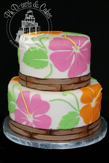Hawaiian-themed cake perfect for a birthday, baby shower, or bridal shower.