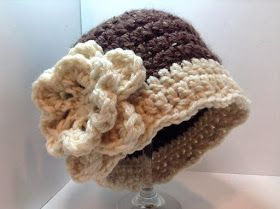 Northern Girl Stamper & Boutique: BROWN & CREAM CROCHET HAT Looks like a Downton Abbey Hat