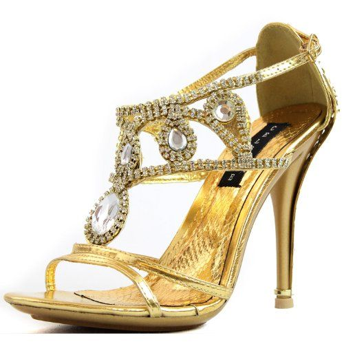 Women's Celeste Sasa-01 Gold Color Rhinestone Evening Shoes, Gold ...