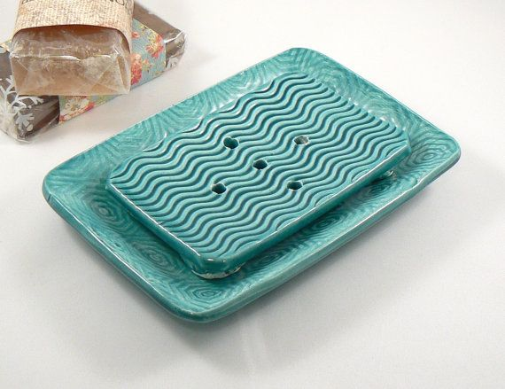 Unique Ceramic Soap Dish in Teal Green with by BellaTerraCeramics, $18.00
